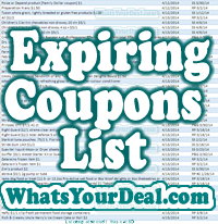 expiring coupons list