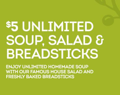 5 Unlimited Soup Salad BreadSticks at Olive Garden Grab Your