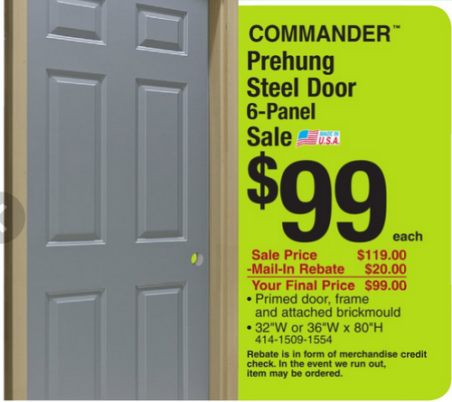 Thru 5/9 commander door  sc 1 st  WhatsYourDeal.com & $99 for Commander Prehung Steel Door @ Menards thru 5/9 | #mendards ...