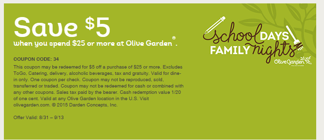 Wow Olive Garden 5 25 Coupon Thru 9 13 Grocery Coupons Wyd