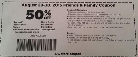 Dollar general family friends 50 off event grocery coupons wyd family friends fandeluxe Gallery