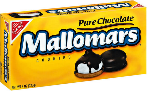 Nabisco's Mallomars come in a box of Each one is about the diameter of a medium-size man's watch, with a beret-shaped marshmallow sitting atop a vanilla cookie. The .