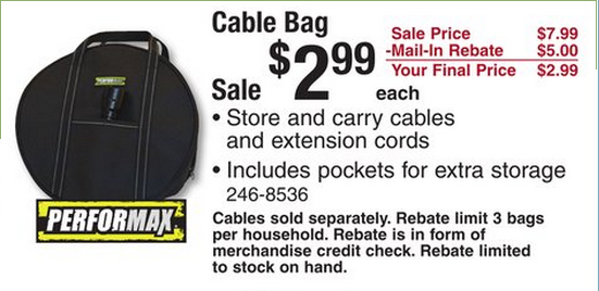 wow this is a great price on these performax cable bags lizziesavesalot couponcommunity. Black Bedroom Furniture Sets. Home Design Ideas