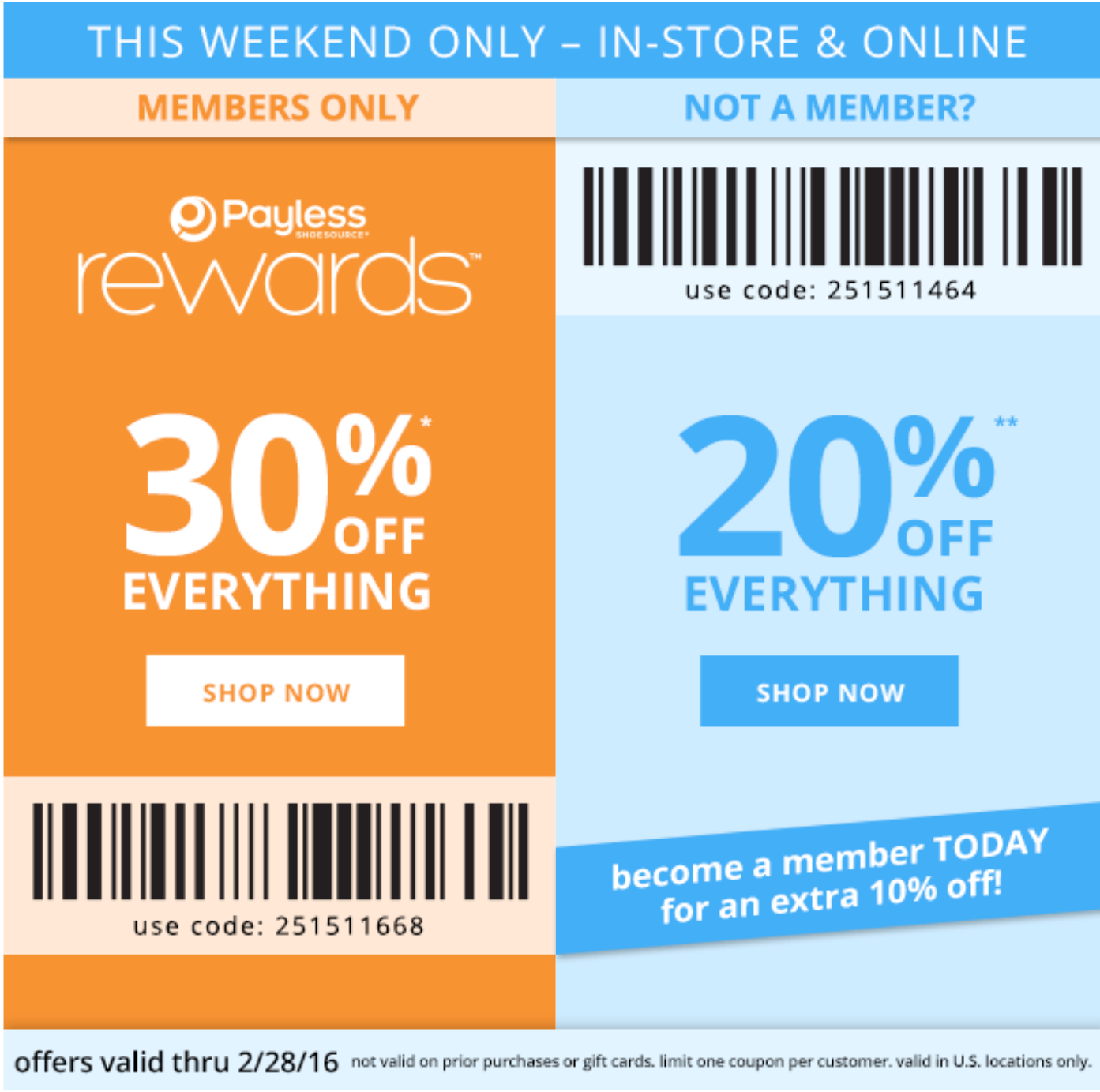 This Weekend Only! Payless HUGE 30% Off Coupon! No Restrictions ...