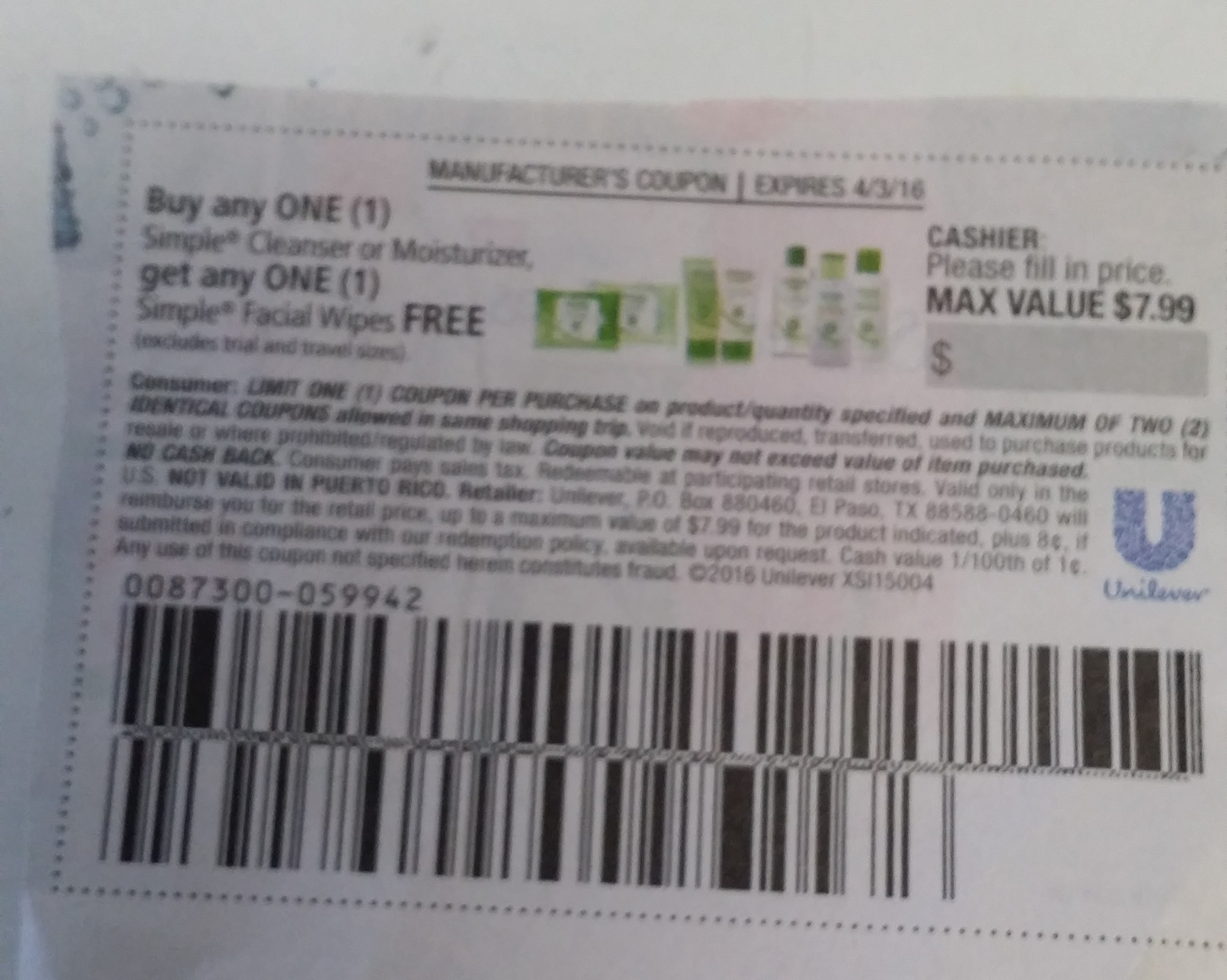 Been awhile since the last Simple coupon deal! This one just popped up this afternoon from trailfilmzwn.cf! It is for $2 off your purchase of this item. Find Simple in the beauty aisle! Simple $2 Off. Been awhile since the last Simple coupon deal! This one just popped up this afternoon from Coupons.