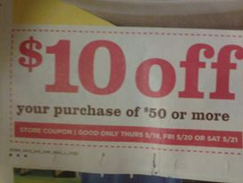 It's coupon Thursday!! Get $10 off your order of $50 or more at all stores today!!