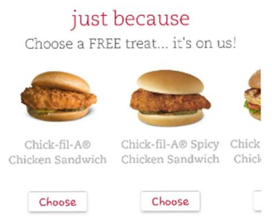 Chick fil a free sandwich coupon code