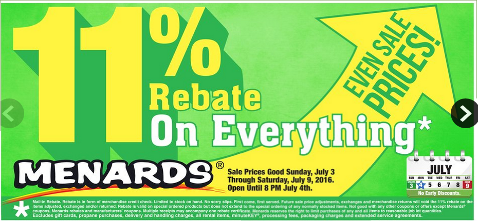 Don't Forget! Menards Is Having Their 11% Rebate On EVERYTHING ...