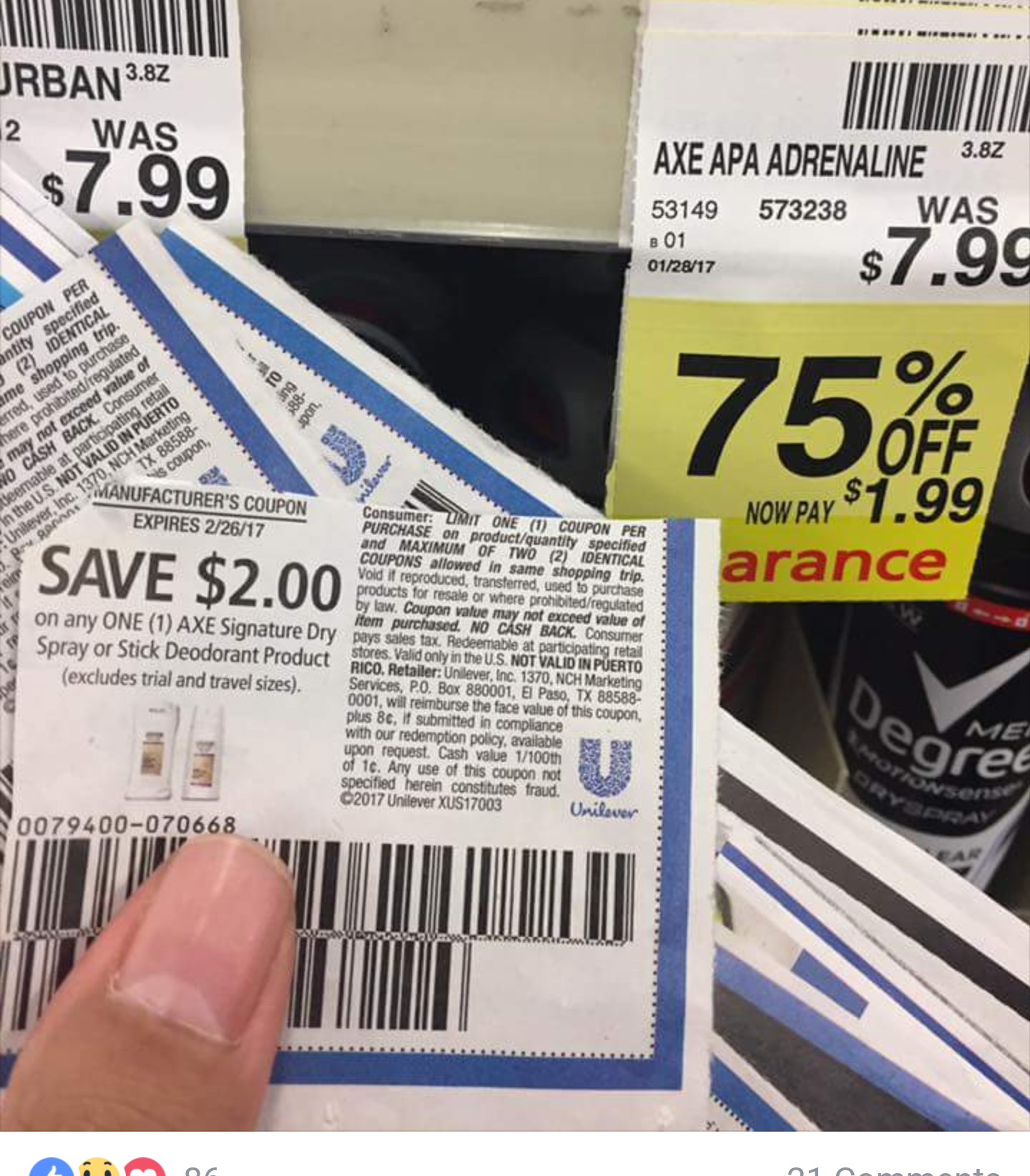 Free axe coupons