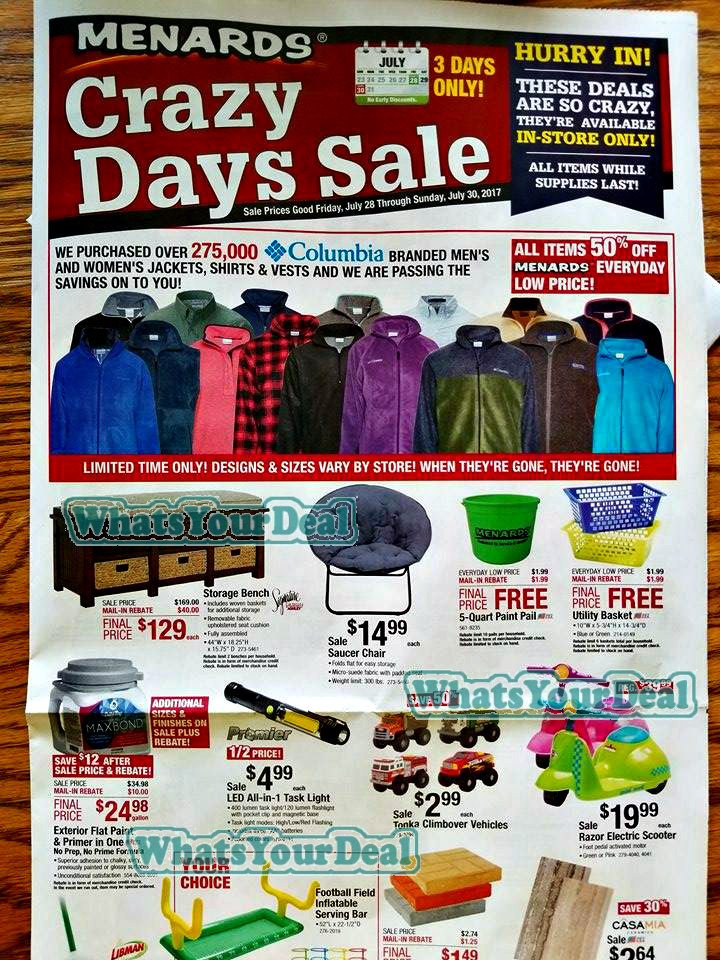 Menards Crazy Days Sale Flyer 7/28/17 – 7/30/17 #Couponcommunity